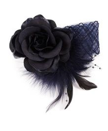 Cutecumber Fabric Hair Fascinator Alligator Clip Rose Applique - Dark Blue