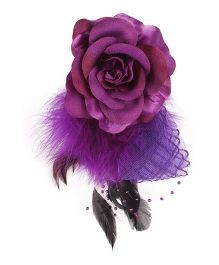 Cutecumber Fabric Hair Fascinator Alligator Clip Rose Applique - Purple