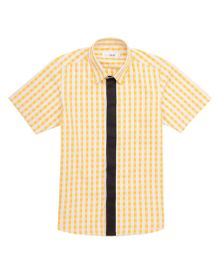 Moobaa Gingham Boys Shirt With Contrast Placket - Yellow & Black