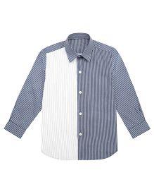 Moobaa Pintuck Striped Boys Shirt - Blue & White