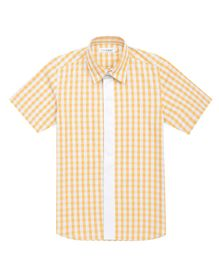 Moobaa Gingham Boys Shirt With Contrast Placket - Yellow & White