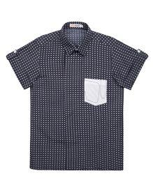 Moobaa Polka Dot Printed Boys Shirt - Navy Blue