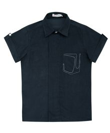 Moobaa Embroidered Pocket Boys Shirt - Blue