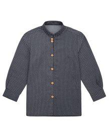 Moobaa Polka Dot Printed Denim Boys Shirt - Blue