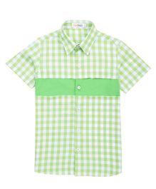 Moobaa Gingham Shirt Front Patterned - Green & White