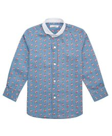 Moobaa Fox Printed Boys Shirt - Blue & White