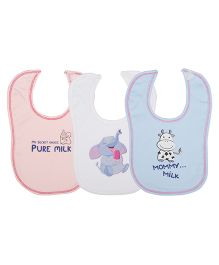 Lula FoodieTheme Bibs Pack Of  3 - Pink White Blue