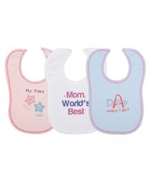 Lula Baby My Stars  Bibs Pack Of  3 - Pink White Blue