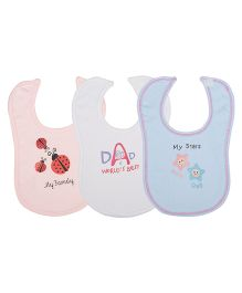 Lula My Family Theme Bibs Pack Of  3 - Pink White Blue