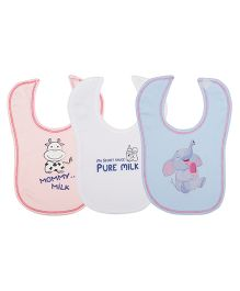 Lula Milky Bibs Pack Of  3 - Pink White Blue