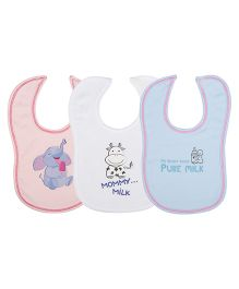 Lula Foodie Theme Bibs Pack Of 3 - Blue White Pink