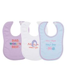Lula Baby Wording Bibs Pack Of  3 - Pink White Blue