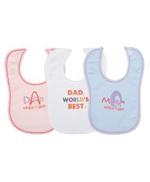 Lula Baby Wording Theme Bibs Pack Of 3 - Pink Blue White