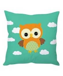 Stybuzz Owl Cartoon Cushion Cover - Green And Orange