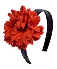 Miss Diva Elegant Polar Fleece Warm Look Flower Hairband - Orange
