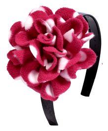 Miss Diva Elegant Polar Fleece Warm Look Flower Hairband - Magenta & White