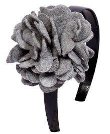 Miss Diva Elegant Polar Fleece Warm Look Flower Hairband - Grey