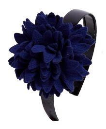 Miss Diva Elegant Polar Fleece Warm Look Flower Hairband - Navy