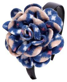 Miss Diva Elegant Polar Fleece Warm Look Flower Hairband - Blue & Off White