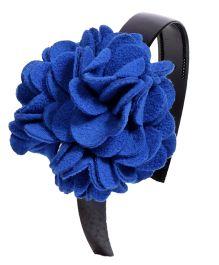 Miss Diva Elegant Polar Fleece Warm Look Flower Hairband - Blue