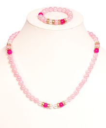 Miss Diva Beaded Necklace & Bracelet Set - Pink