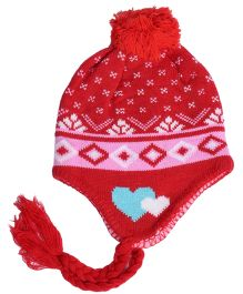Miss Diva Jacquard Warm & Comfortable Cap - Red