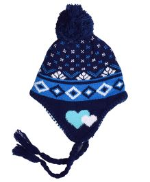 Miss Diva Jacquard Warm & Comfortable Cap - Navy