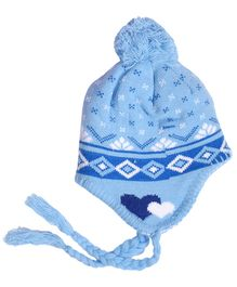 Miss Diva Jacquard Warm & Comfortable Cap - Light Blue