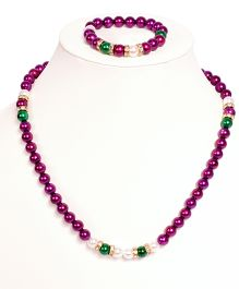 Miss Diva Beaded Necklace & Bracelet Set - Wine