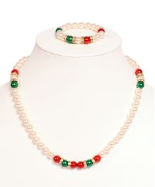 Miss Diva Beaded Necklace & Bracelet Set - White