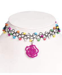 Miss Diva Elegant Flower & Beads Choker - Multicolor
