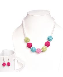 Miss Diva Handmade Crochet Beads Necklace & Earrings Set - Multicolor