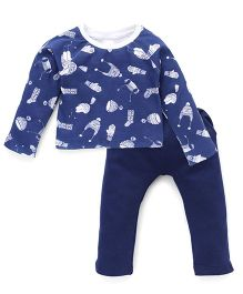 Chic Bambino Caps & Gloves Print Top & Pant Set - White & Blue