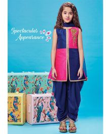 Peek A Boo Half Top With Dhoti Pants And Dupatta - Blue & Pink