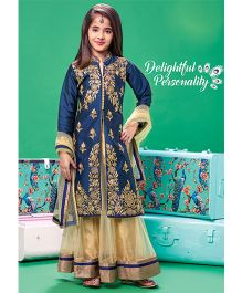 Peek A Boo Long Jacket With Pants & Dupatta - Blue