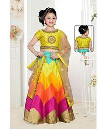 Peek A Boo Embroidered Lehenga With Choli - Yellow
