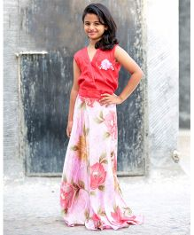 Peek A Boo Floral Satin Casual Gown - Pink & Red