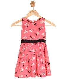 Kids On Board Sleeveless Elephant Print Dress -Pink