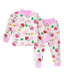 Aww Hunnie Cute Cartoon Print Top & Pant Set - Pink