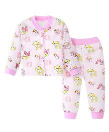 Aww Hunnie Cute Dog Print Top & Pant Set - Pink