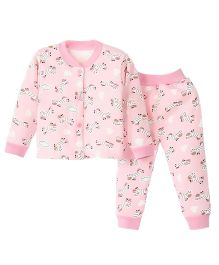 Aww Hunnie Front Open Printed Top & Pant Set - Pink