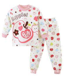 Aww Hunnie Apple Print Top & Pant Set - Pink