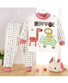 Aww Hunnie Giraffe Print Top & Pant Set - Pink