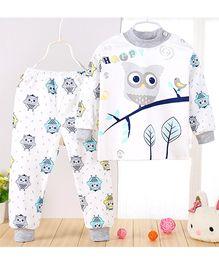 Aww Hunnie Owl Print Top & Pant Set - Blue