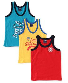 Taeko Printed And Solid Color Set Of 3 Vests - Red Yellow Blue