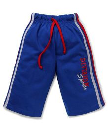 Taeko Three Fourth Pants With Drawstring Division Sports Embroidery - Royal Blue