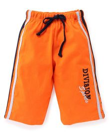 Taeko Three Fourth Pants With Drawstring Division Sports Embroidery - Orange