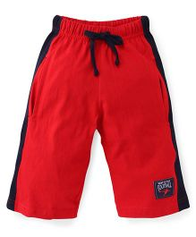 Taeko Three Fourth Pants With Drawstring Football Patch - Red