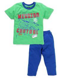 Taeko Half Sleeves T-Shirt And Pajama Mission Control Print - Green Royal Blue