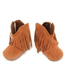 Little Hip Boutique Tan Fringe Warm Boots - Tan
